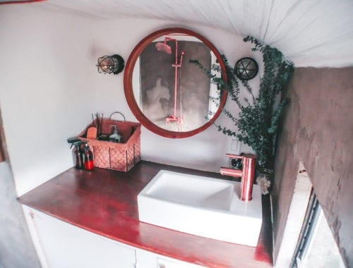 We've rounded up our top five favorite skoolie bathrooms! Check out our picks for the best bathroom designs and layouts within the skoolie community! | sincewewokeup.com | Since We Woke Up