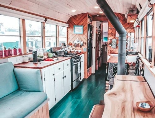 Today we're featuring the Deliberate Life Bus skoolie - a bus conversion with the most gorgeous floors and color scheme we've ever seen. | Since We Woke Up | sincewewokeup.com