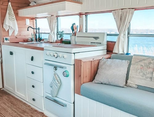 Today we're featuring the Fern the bus skoolie - a bus conversion with a bright, sunshine-filled interior and cool mint exterior! | Since We Woke Up | sincewewokeup.com