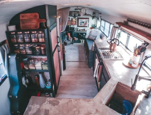 We get a lot of questions about our little skoolie kitchen! From our conrete countertops to the rose gold appliances, here are the answers!   Since We Woke Up   sincewewokeup.com