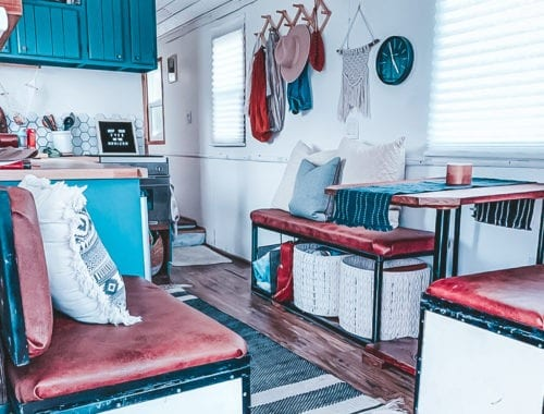 Today we're featuring the The Kastle on Wheels skoolie - a bus conversion with a bed on a lift, real windows, and serious style. | Since We Woke Up | sincewewokeup.com