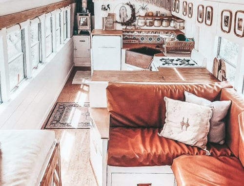 Today we're featuring the This is Bus skoolie - a bus conversion that is all desert hues and retro vibes. And have you seen that sink? | Since We Woke Up | sincewewokeup.com