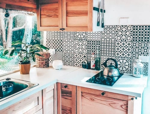 Today we're featuring the Wander Jah Buslife conversion - a bus conversion with a stylish kitchen and windows as far as the eye can see. | Since We Woke Up | sincewewokeup.com