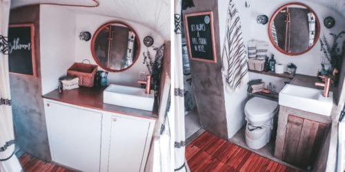 After one year of living in our bus, we're releasing an updated skoolie floor plan and video bus tour including all the changes and renovations we've made! | sincewewokeup.com | Since We Woke Up