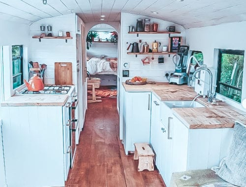 Today we're featuring the Dixie Tribe skoolie - a bus conversion with a breezy boho cottage feel! Check out this unique school bus conversion! | Since We Woke Up | www.sincewewokeup.com