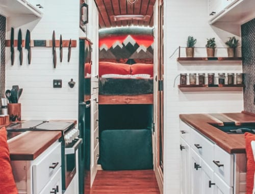Today we're featuring Just Another Skoolie - a bus conversion with a beer fridge, dog house, and tons of style. | Since We Woke Up | www.sincewewokeup.com
