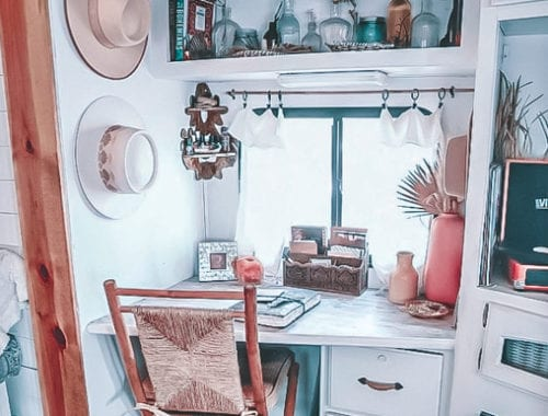 Today we're featuring our first renovated RV - a boho beachy cottage on wheels by Shelby Adrift. You won't believe this RV renovation! | Since We Woke Up | www.sincewewokeup.com